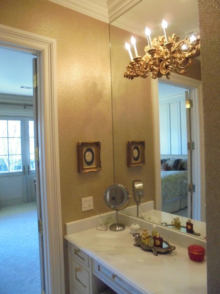 Bathroom Wallpaper Installation in Dallas Mansion