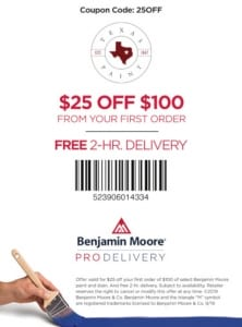 Pro Delivery-$25 Off small - Texas Paint Pro Delivery