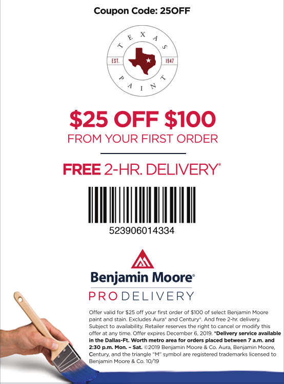 $25 Off - Pro Delivery - Texas Paint