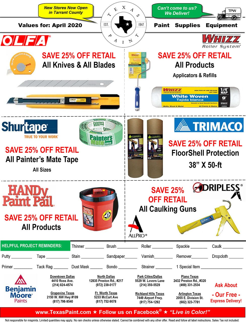 April Offers and Coupons Texas Paint