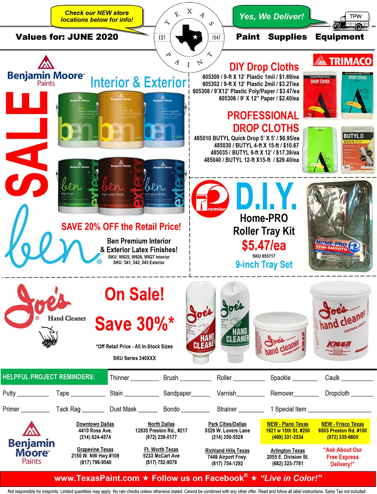 June 2020 Offers and Coupons Texas Paint